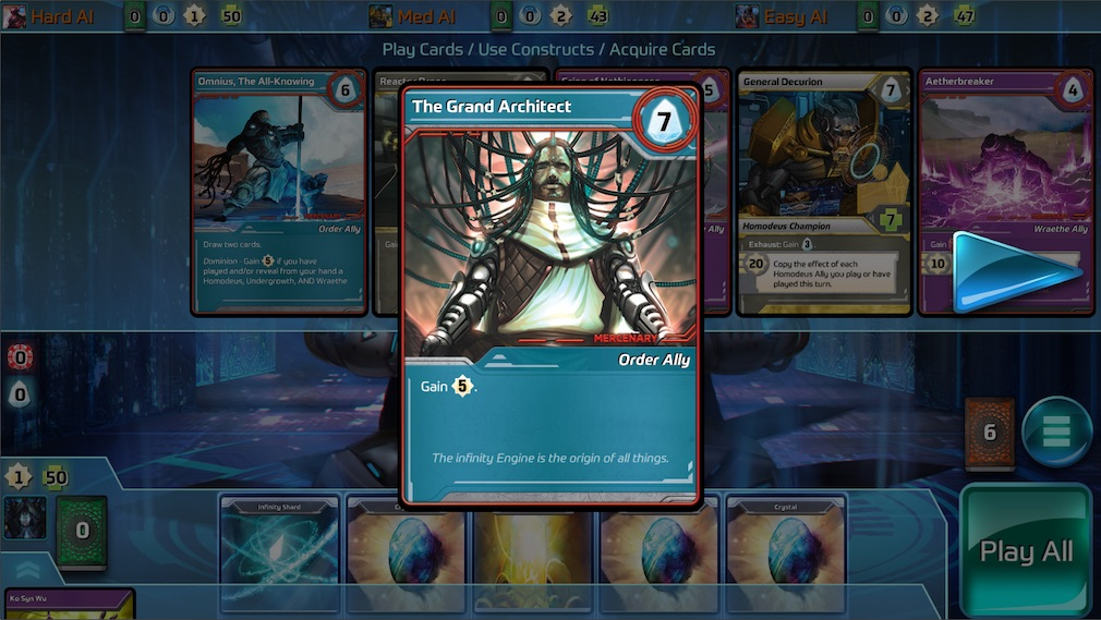 Shards of Infinity iOS screenshot - Close up on one of the cards