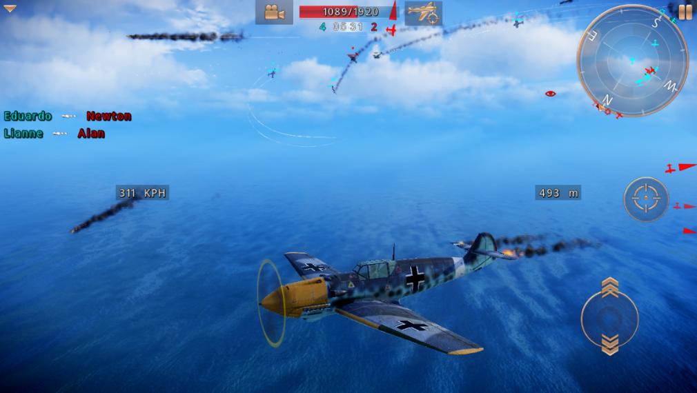 Sky Gamblers - Storm Raiders 2 iOS review screenshot - Looking around in team deathmatch mode
