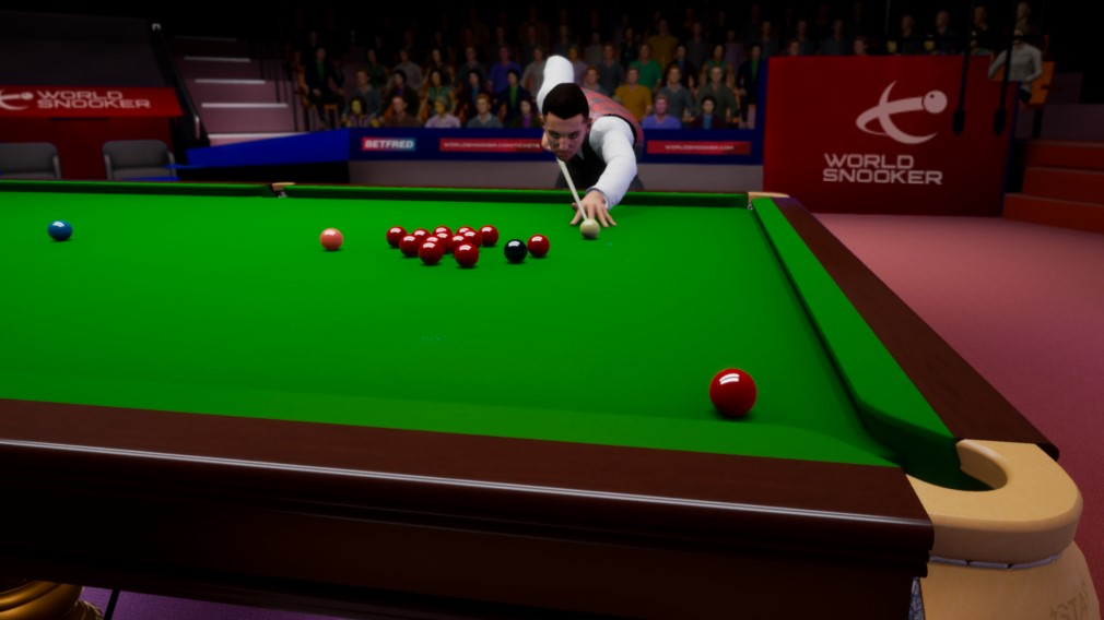 Snooker 19 Switch Screenshot Wide Angle Shot of Man Leaning over Table
