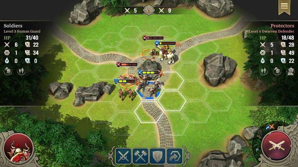 Spellforce: Heroes and Magic Android screenshot - A zoomed out view of the battlefield