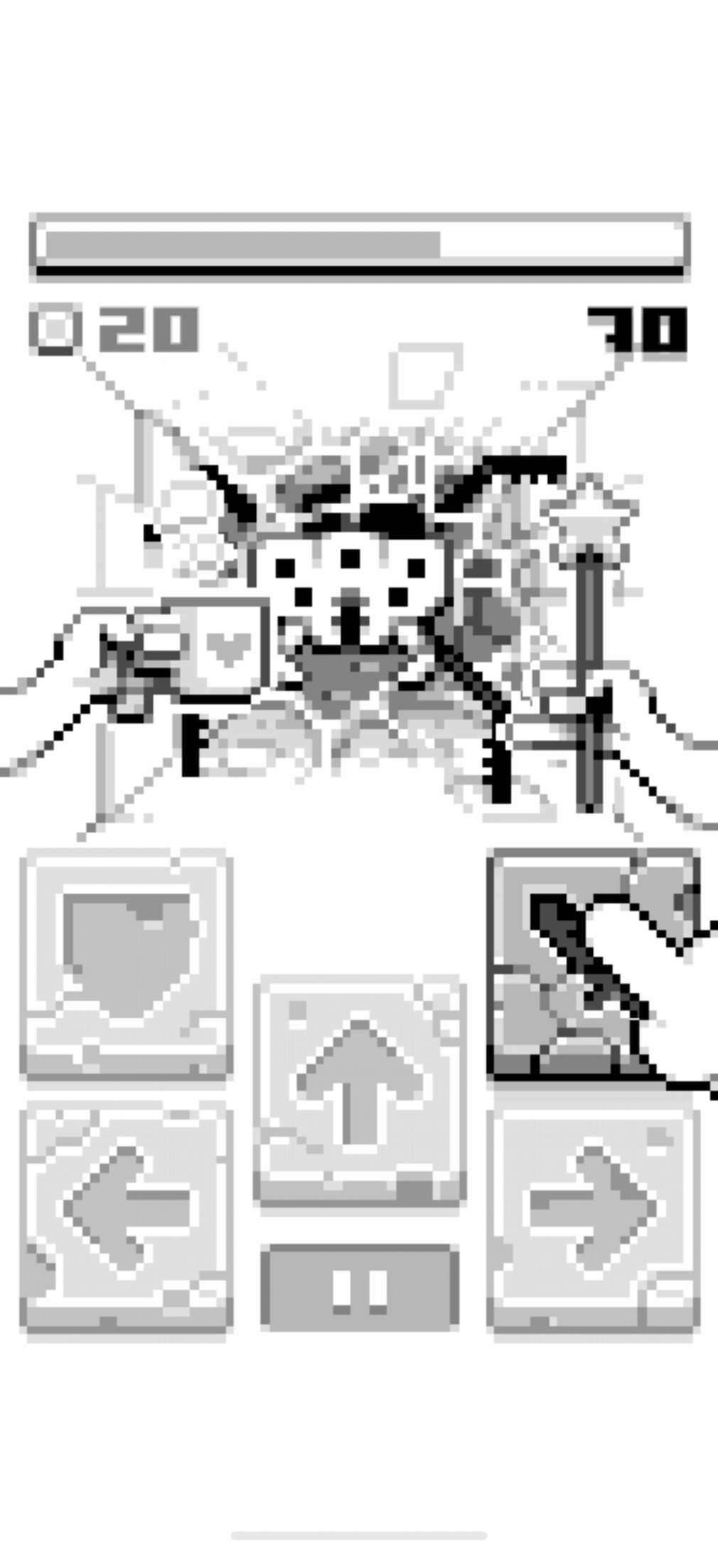 Sprint RPG iOS screenshot - Attacking a spider with a fairy wand