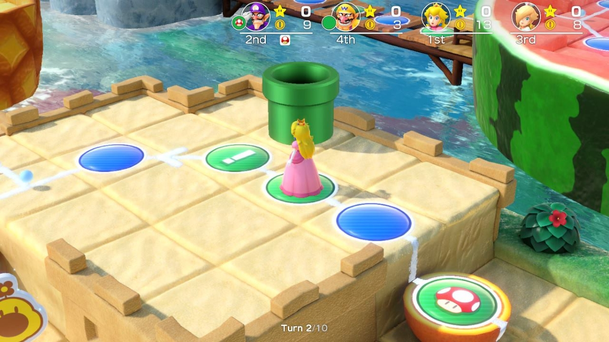 Super Mario Party Switch Screenshot Peach On A Tropical Game Board
