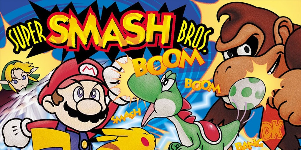 Super Smash Bros. artwork showing Mario, Pikachu, and more