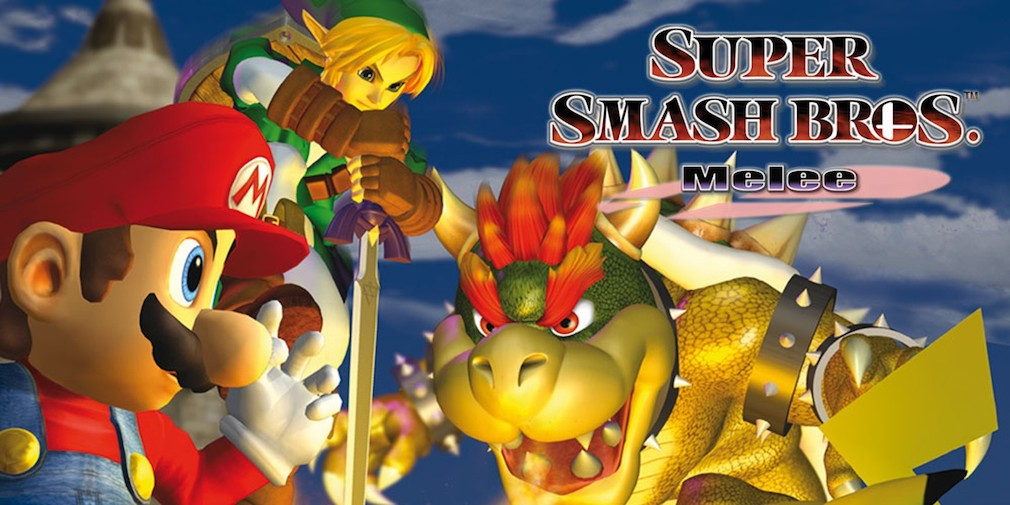 Super Smash Bros. Melee artwork showing Bowser, Link, and Mario