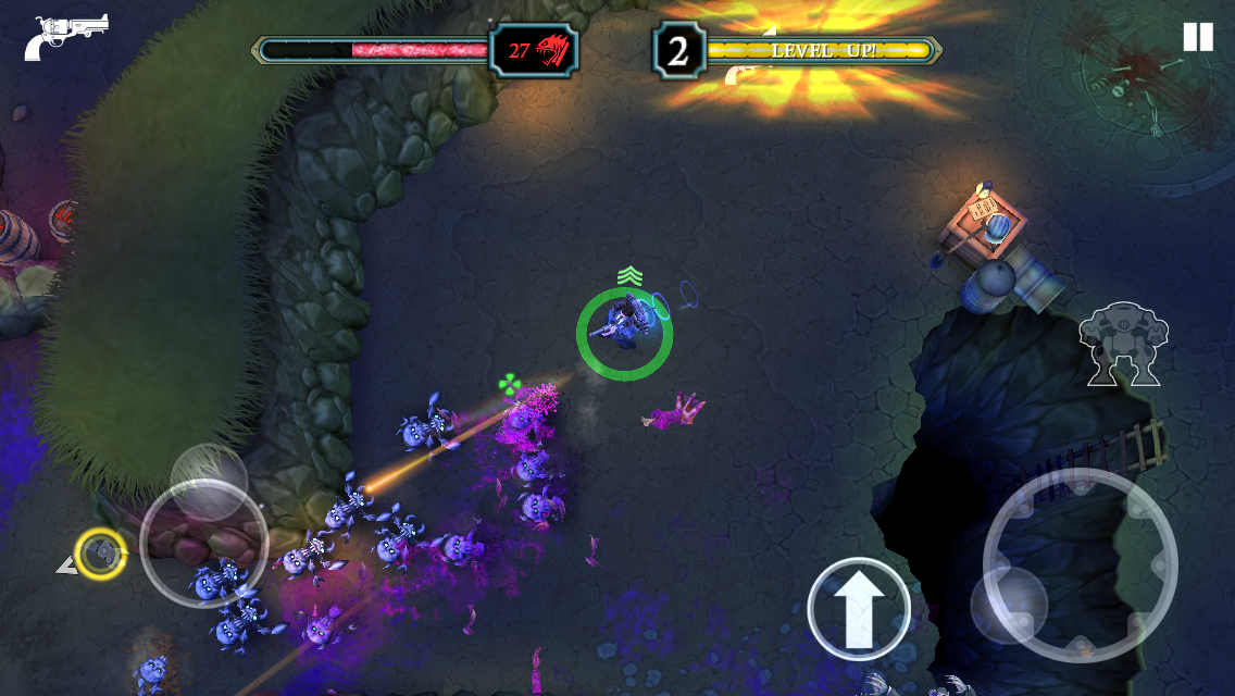 Tesla vs Lovecraft iOS review screenshot - Using the revolver against spiders
