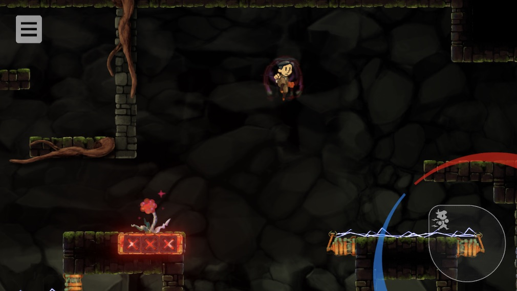 Teslagrad iOS screenshot - Leaping over a gap