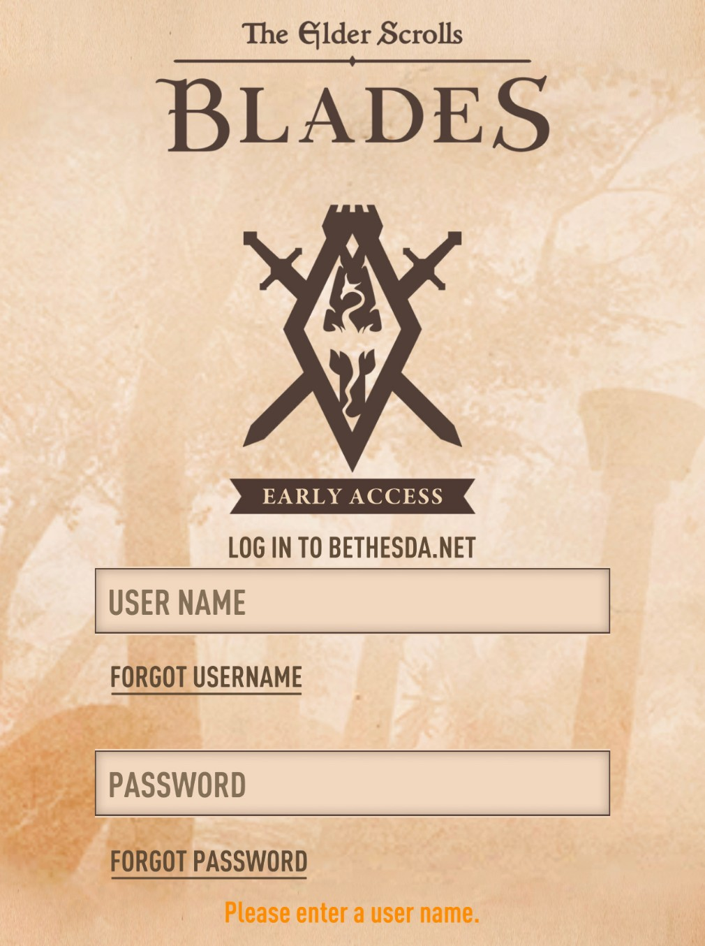 The Elder Scrolls: Blades iOS screenshot - The log-in screen