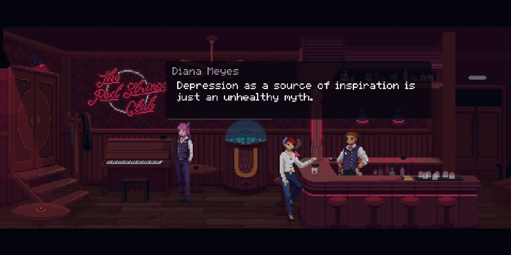 The Red Strings Club Switch Screenshot Depression Conversation