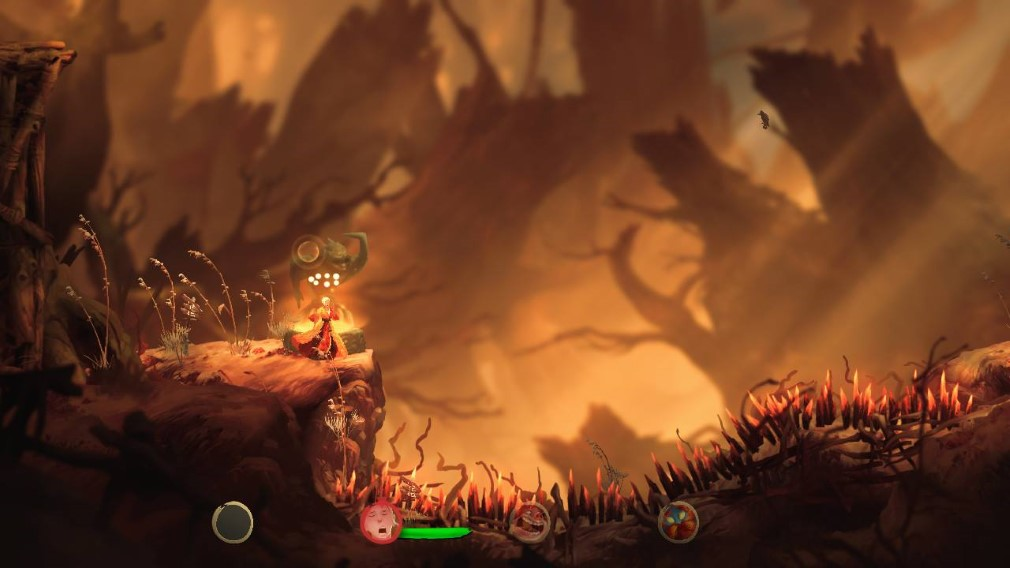 Unruly Heroes Switch Screenshot Looking Across A Pit of Spikes