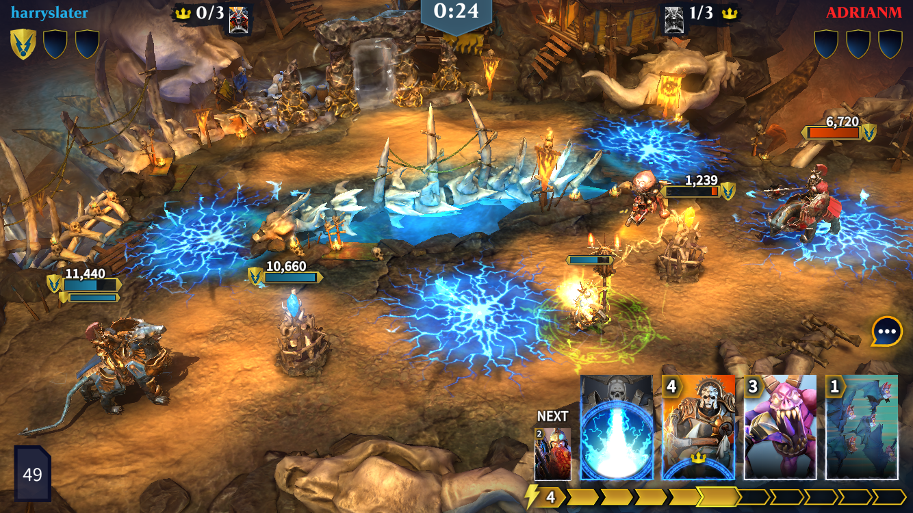 Warhammer Age of Sigmar: Realm Wars iOS review screenshot - A battle on the first stage