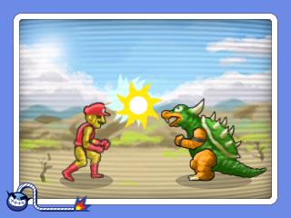 Warioware Gold 3DS screesnhot - A mini game featuring Bowzer