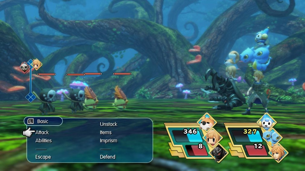 World of Final Fantasy Maxima Switch Screenshot Battle In A Forest