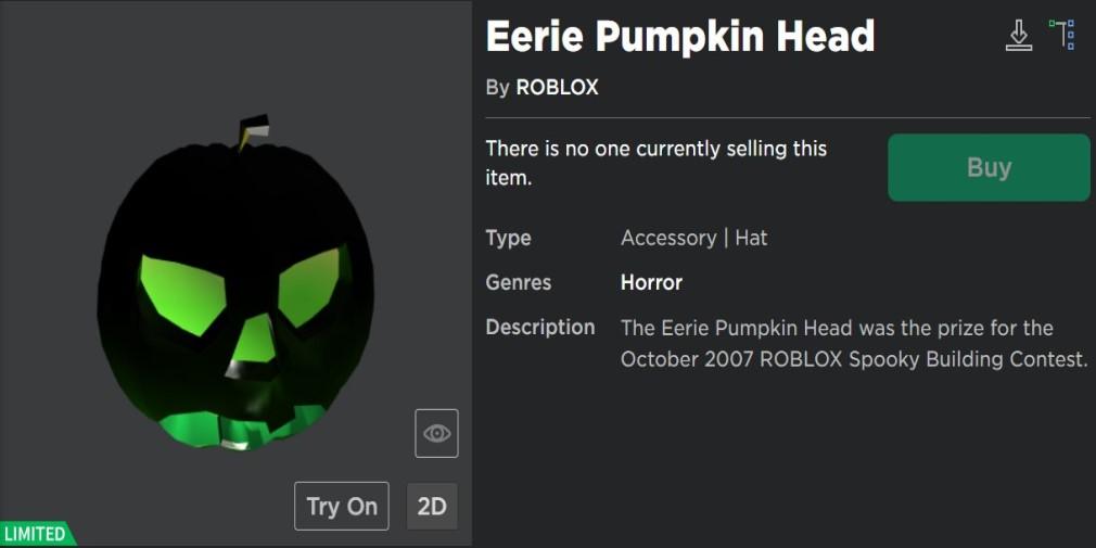 Roblox catalog pumpkin