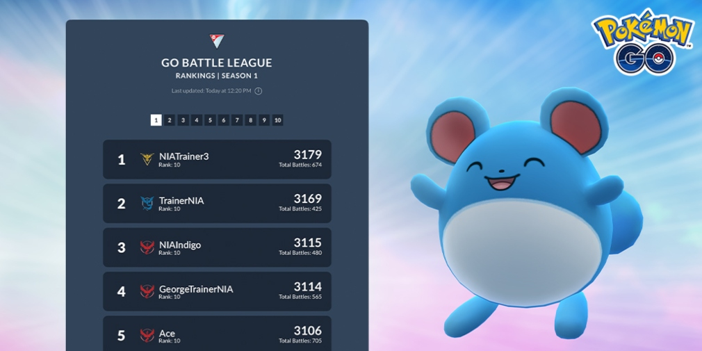 Pokemon Go's Battle League leaderboard will soon go live and there will be a Marill-focused event to celebrate