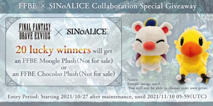 SINoALICE Global kicks off Final Fantasy Brave Exvius collab event with a plushie giveaway in real life