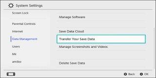 Сохранение данных передачи Nintendo Switch