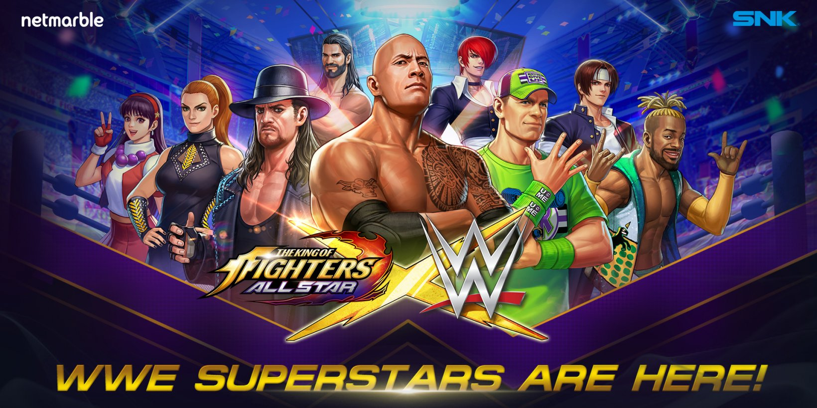 The King of Fighters ALLSTAR adds WWE superstars including The Rock, John Cena, and Undertaker to its giant roster