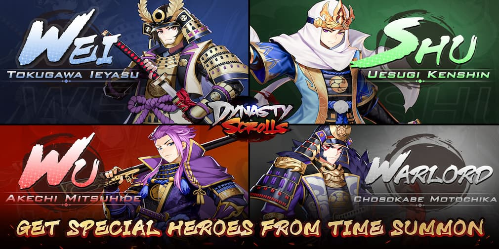 Dynasty Scrolls introduces four new historical heroes in a time summon event