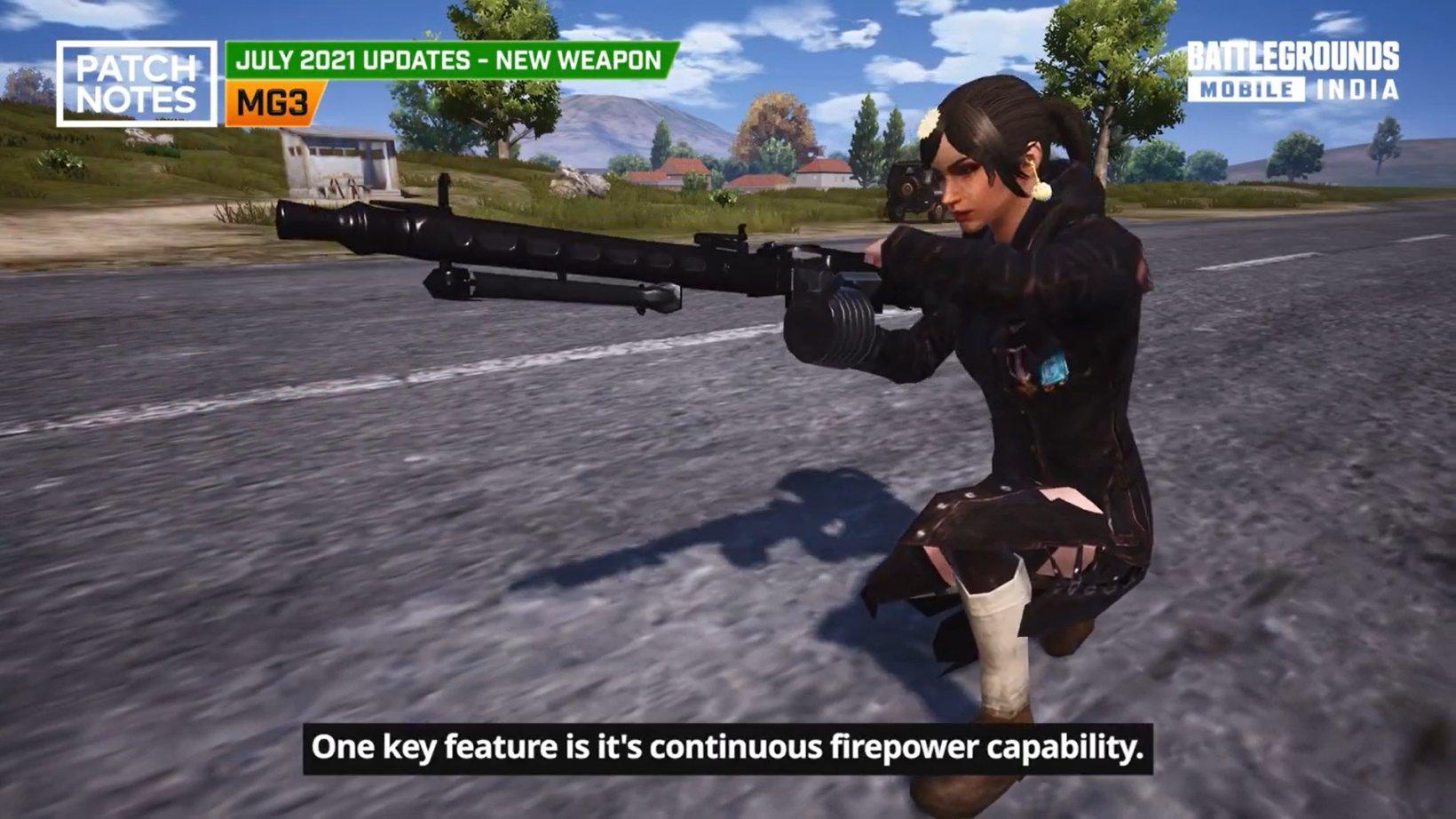 battlegrounds mobile india new gun mg3
