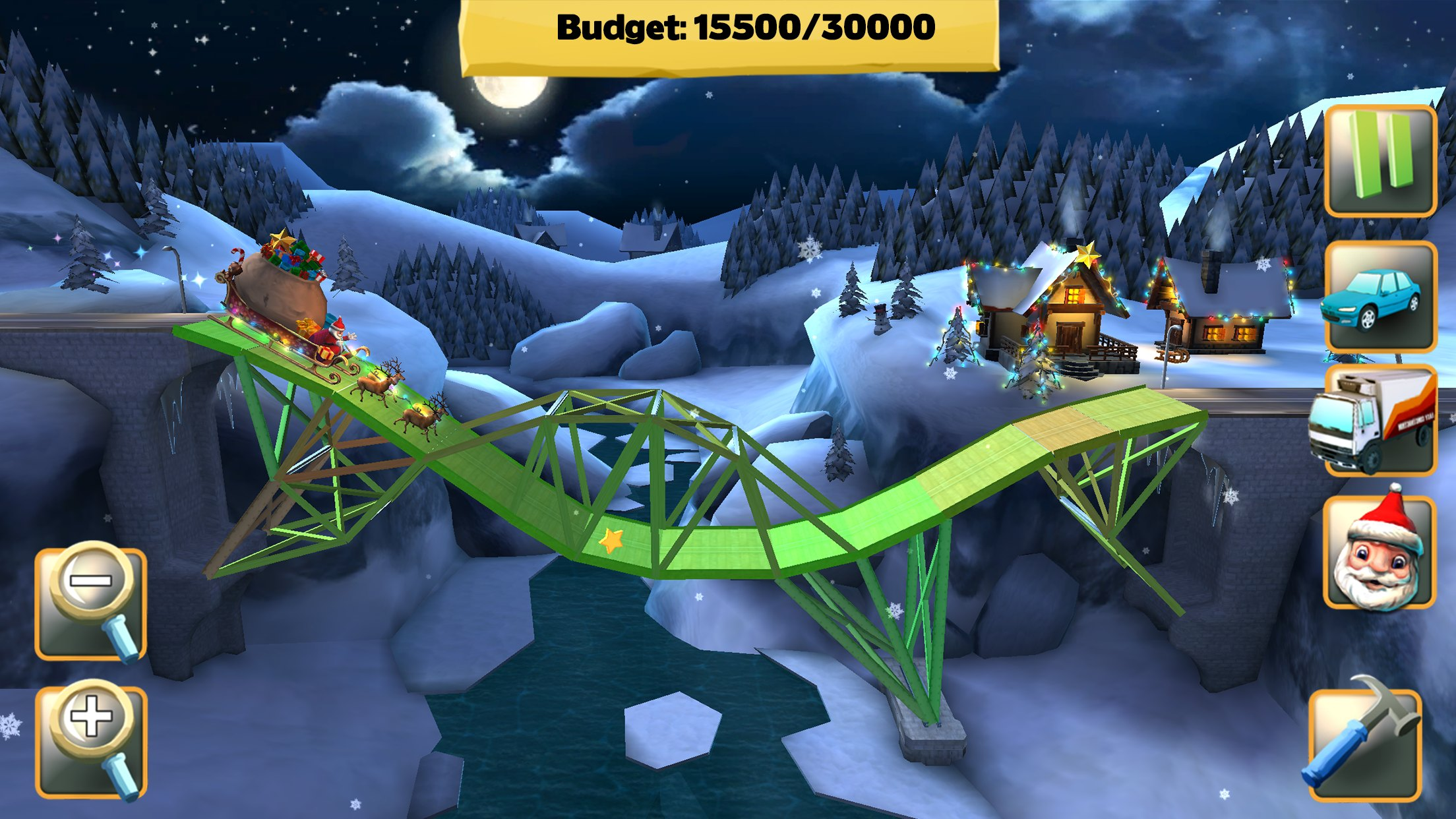 Bridge Constructor gets new wintry levels starring Santa and his sleigh