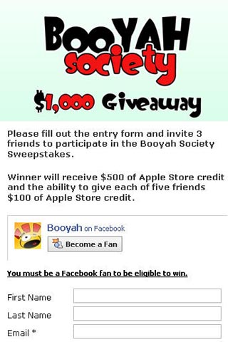 Booyah Society's $1,000 App Store sweepstake