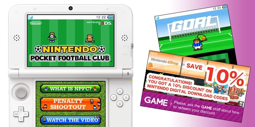 Play Nintendo Pocket Football Club mini-games in GAME stores for eShop discounts