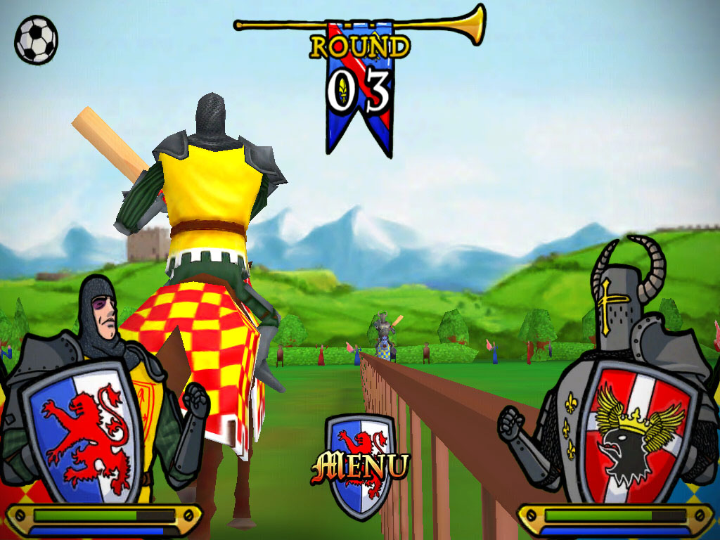 Billy Goat offers you a lance, cricket bat or rubber duck in comic joust iOS game KnightyKnight