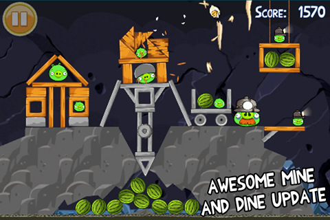 Angry Birds Mine and Dine update goes live for iPhone, contains 15 new levels. And stalactites