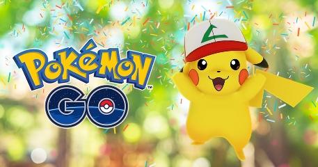 Wild Pikachus are wearing Ash's original hat to celebrate Pokemon GO's one-year anniversary