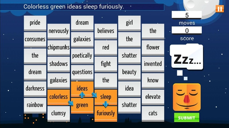 Sleep Furiously combines the absurdity of fridge magnet sentences with SpellTower