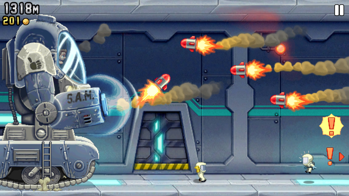 Jetpack Joyride now features a giant high-fiving robot called S.A.M. on iPad and iPhone