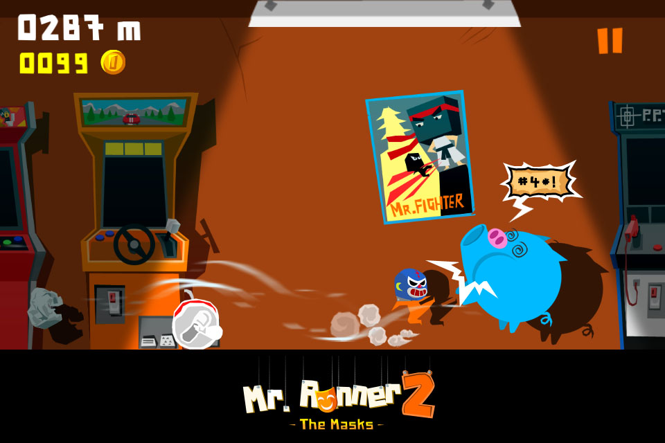 Chase down the villain that's imprisoned your head in Mr. Runner 2: The Masks for iOS