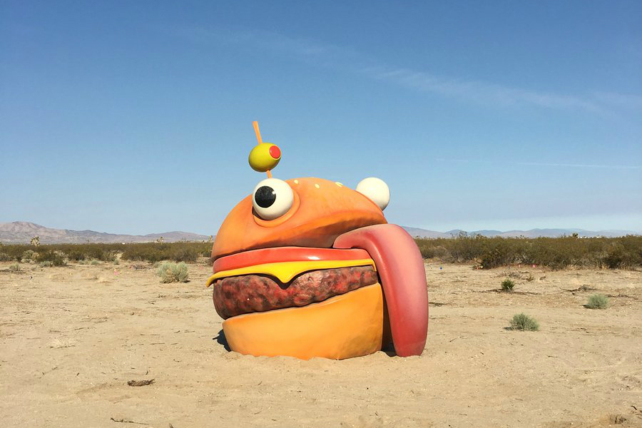 Fortnite's Durrr Burger falls through an interdimensional wormhole and pops up in a real-life desert