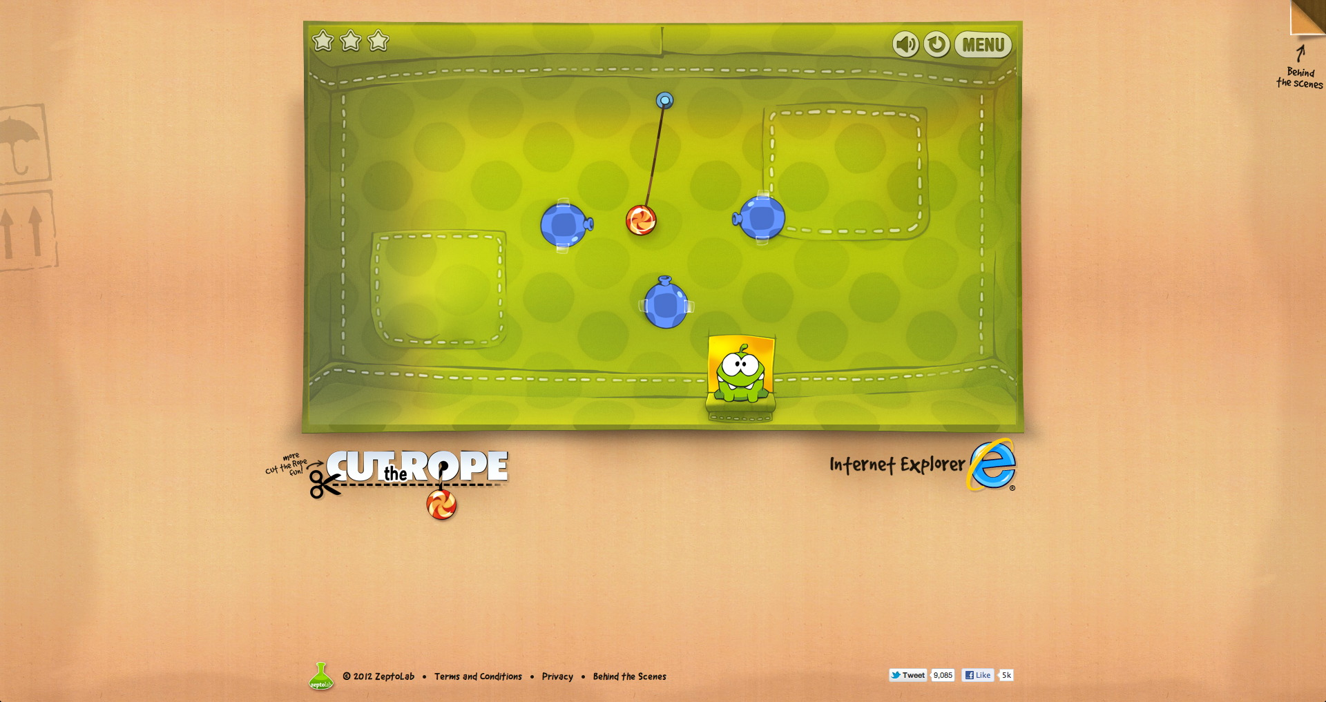 Addictive iOS and Android physics-puzzler Cut the Rope now playable through your web browser