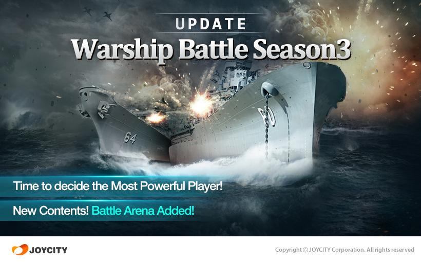 Enjoy fiery battles on ocean waves in JoyCity's third season update to Warship Battle:3D World War II