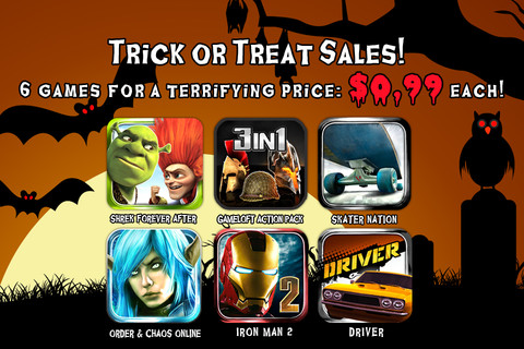 Gameloft holds 69p/99c iOS 'Trick or Treat' sale, slashes price of Order & Chaos Online, Driver, and more