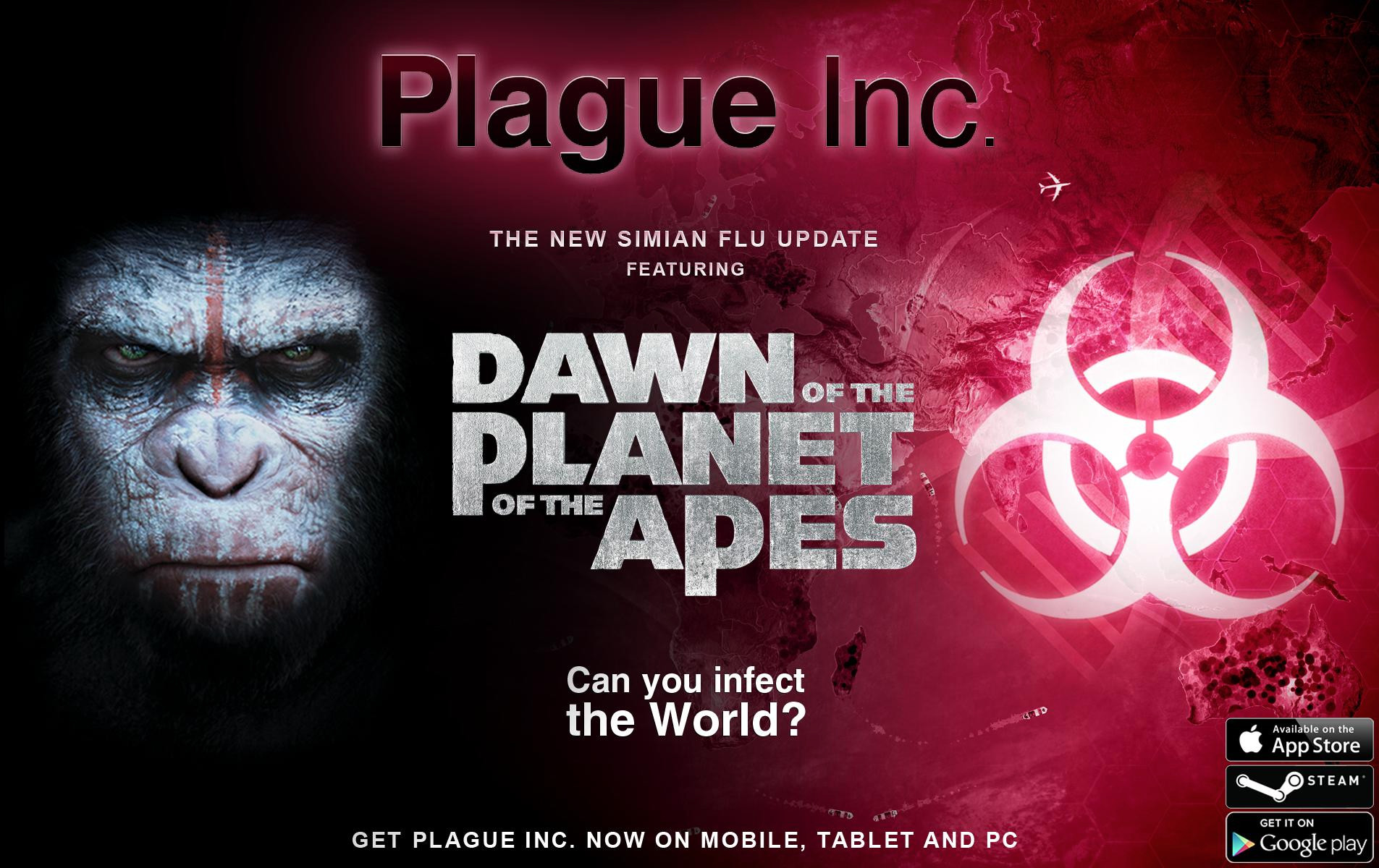 Plague Inc. is set to be updated with some Dawn of the Planet of the Apes themed content for iOS and Android