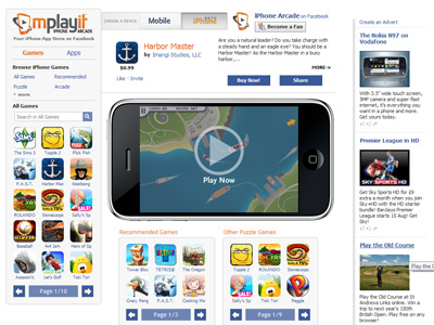 Mplayit launches iPhone Arcade on Facebook