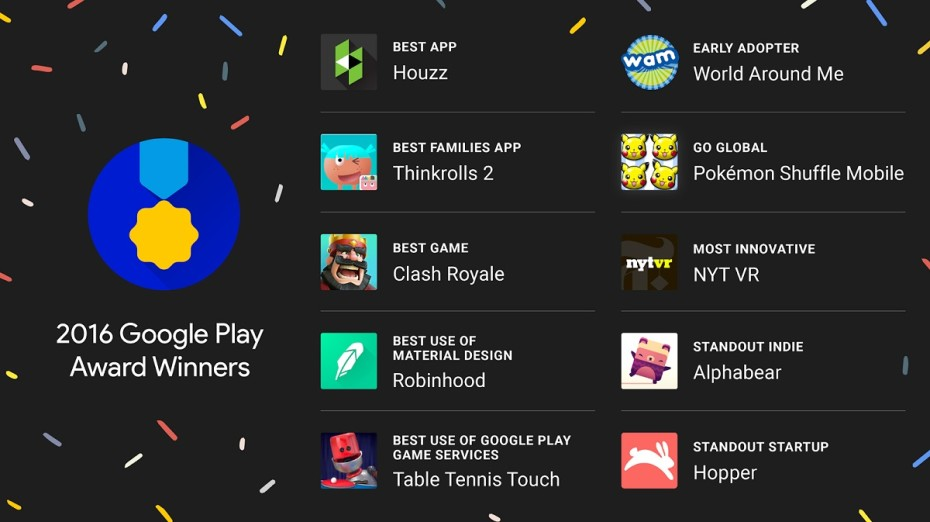 Google chose its 2016 Google Play Awards Winner yesterday, Clash Royale and more rewarded