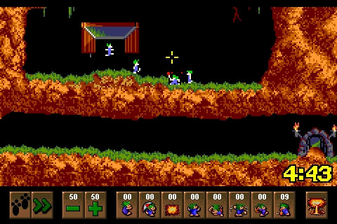 Classic Amiga game Lemmings piling aimlessly towards the iPhone for free