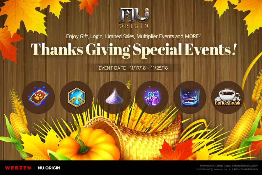 Celebrate Thanksgiving MU Origin-style with these limited-time events