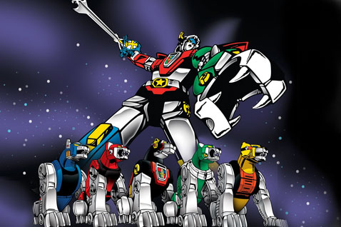 Voltron blasting across the galaxy to defend the iPhone world