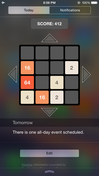 2048 in Widget! is the first game you can play entirely in the notifications bar of your iPhone or iPad