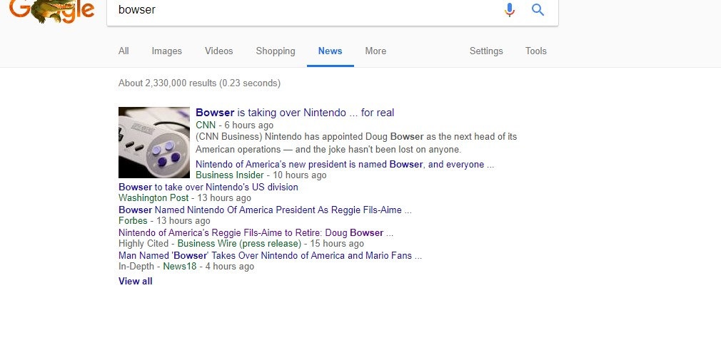 Bowser taking over Nintendo of America, news writers cry tears of joy