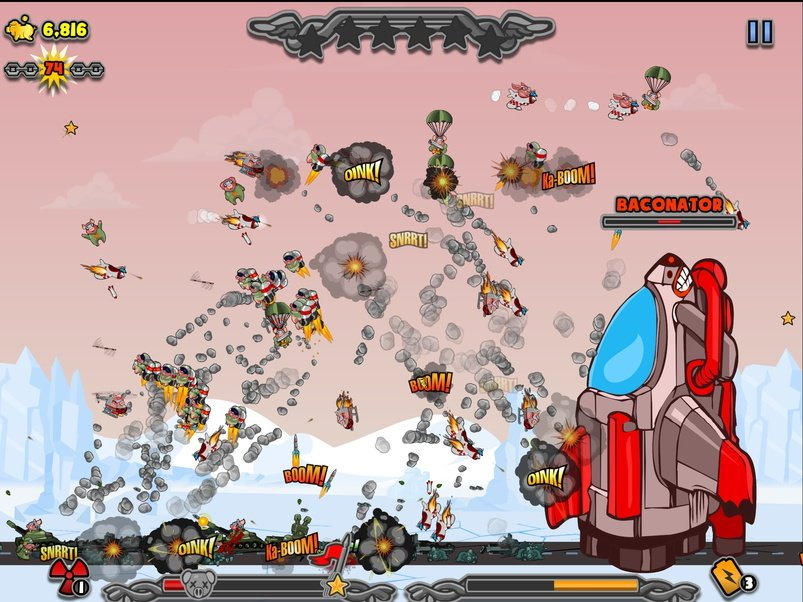Out at midnight: Blow up a lot of podgy farm animals in Kamikaze Pigs for iOS