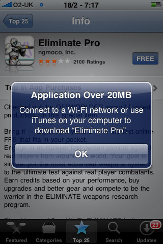 Apple doubles 3G over-the-air app purchase size to 20MB | Articles