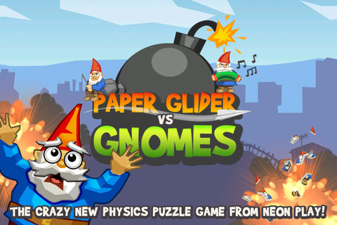 Explosive bomb-dropping puzzler Paper Glider vs. Gnomes out now for iPhone and iPad
