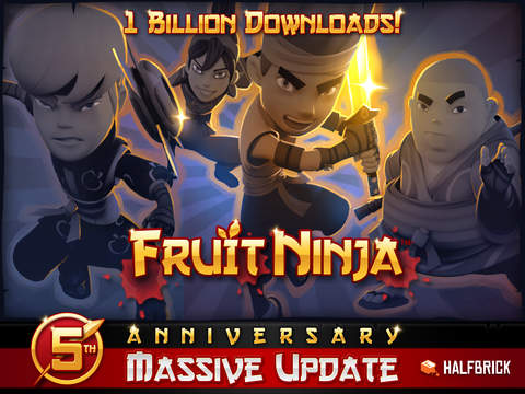 Halfbrick celebrates Fruit Ninja's five year anniversary by updating most of its games