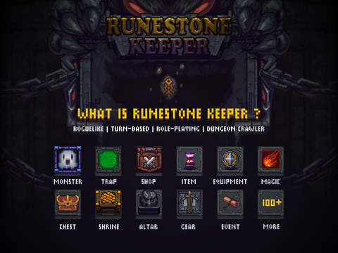 Runestone Keeper is a Dungelot-esque roguelike, complete with god worship and tattoo abilities