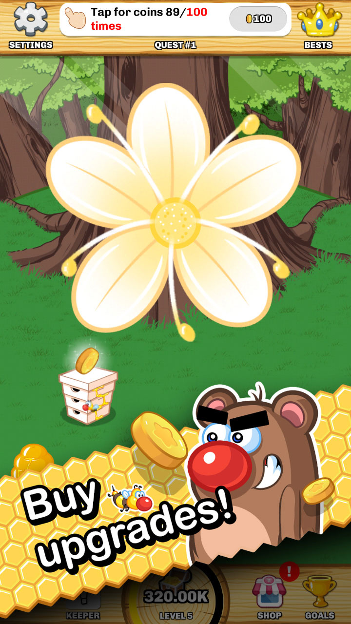 Send friendly bees to gather gold in Honey Beellionaire